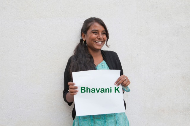 Bhavani K, 17 yrs , Wants to be a lawyer , Wants to learn photography so that she can take pictures of crime and terrorists !!